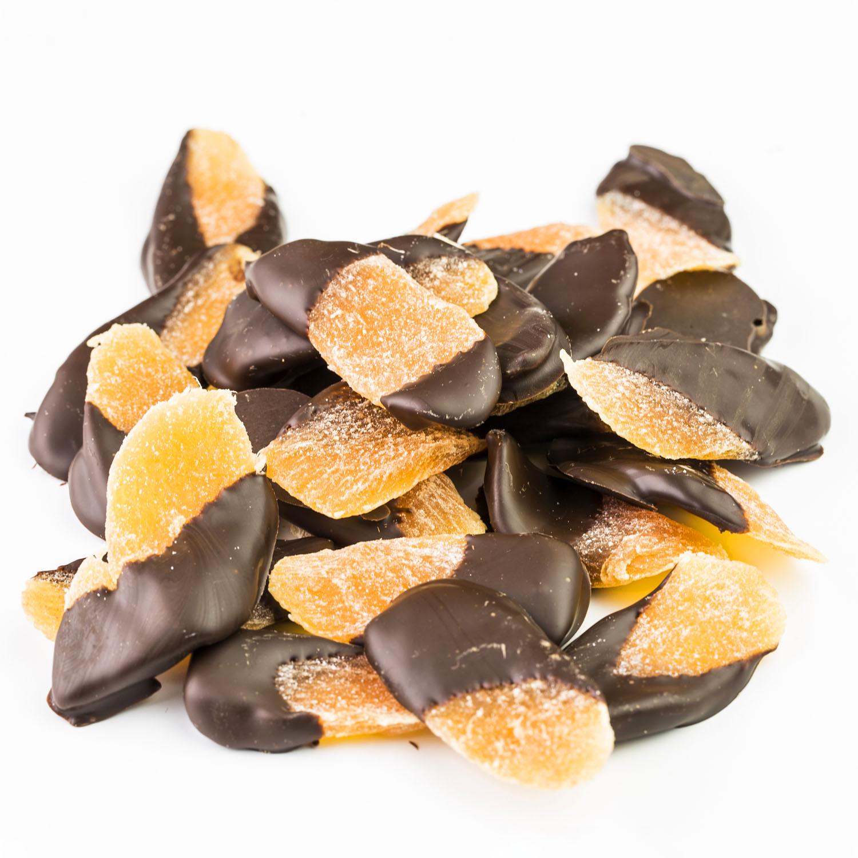 Étcsokoládés aszalt, cukrozott mangó